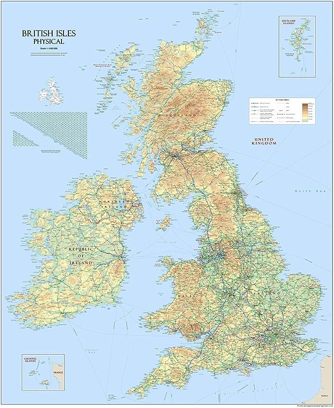 Cartina Geografica Inghilterra E Scozia.Mappa Fisica Della Gran Bretagna E Delle Grandi Isole Britanniche Carta Plastificata 120 X 100 Cm Amazon It Cancelleria E Prodotti Per Ufficio