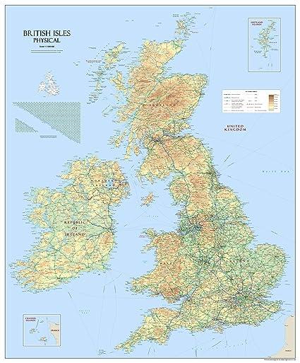 Gran Bretagna Cartina.Mappa Fisica Della Gran Bretagna E Delle Grandi Isole
