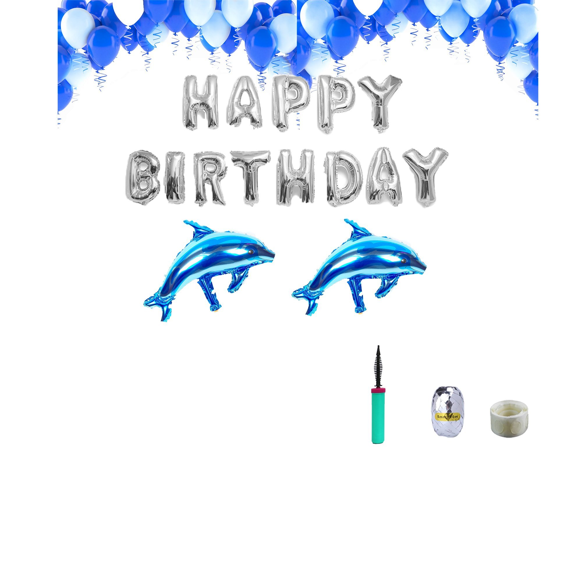 Blue Birthday Dolphin Decoration Set Silver Happy Birthday Foil Balloons Blue Balloons