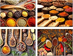 HOMOEART Kitchen Decor Pictures Colorful Spices in Spoons Canvas Wall Art Prints Framed Still Life Food Painting 12