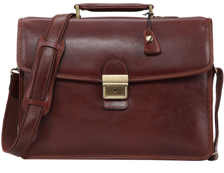 Banuce Vintage Full Grain Leather Briefcase for Men with Lock 14'' Laptop Tote Business Messenger Bag