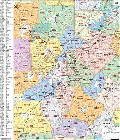 map of atlanta zip codes Amazon Com Metro Atlanta Zip Code Wall Map Laminated 2020 Map map of atlanta zip codes