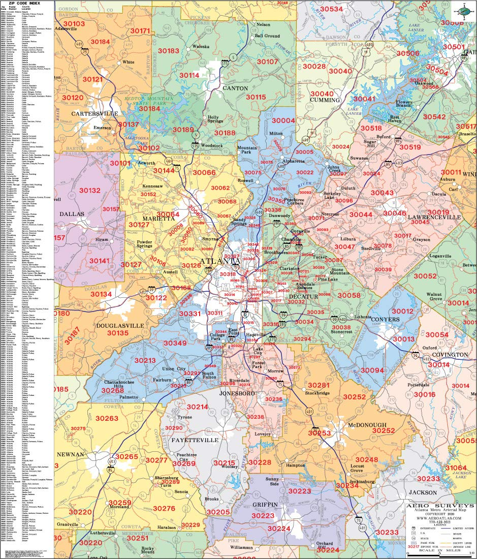 Zip Code Map Atlanta Metro Atlanta Zip Code Wall Map Laminated 2020: Aero Surveys of