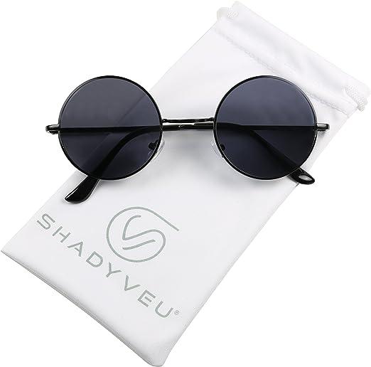 John Lennon Sunglasses Round Retro Hippie Dark Lens Shades Frame Gold Black NEW