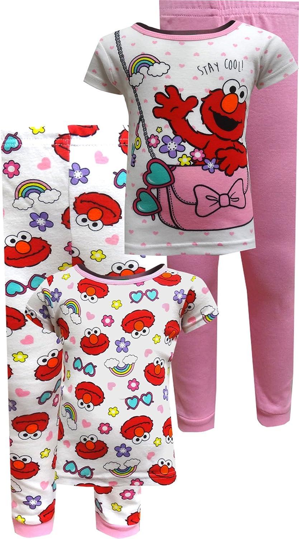 Sesame Street Elmo Pink Purse Toddler 4-Piece Pajama Set for Little Girls SS247TSL4T