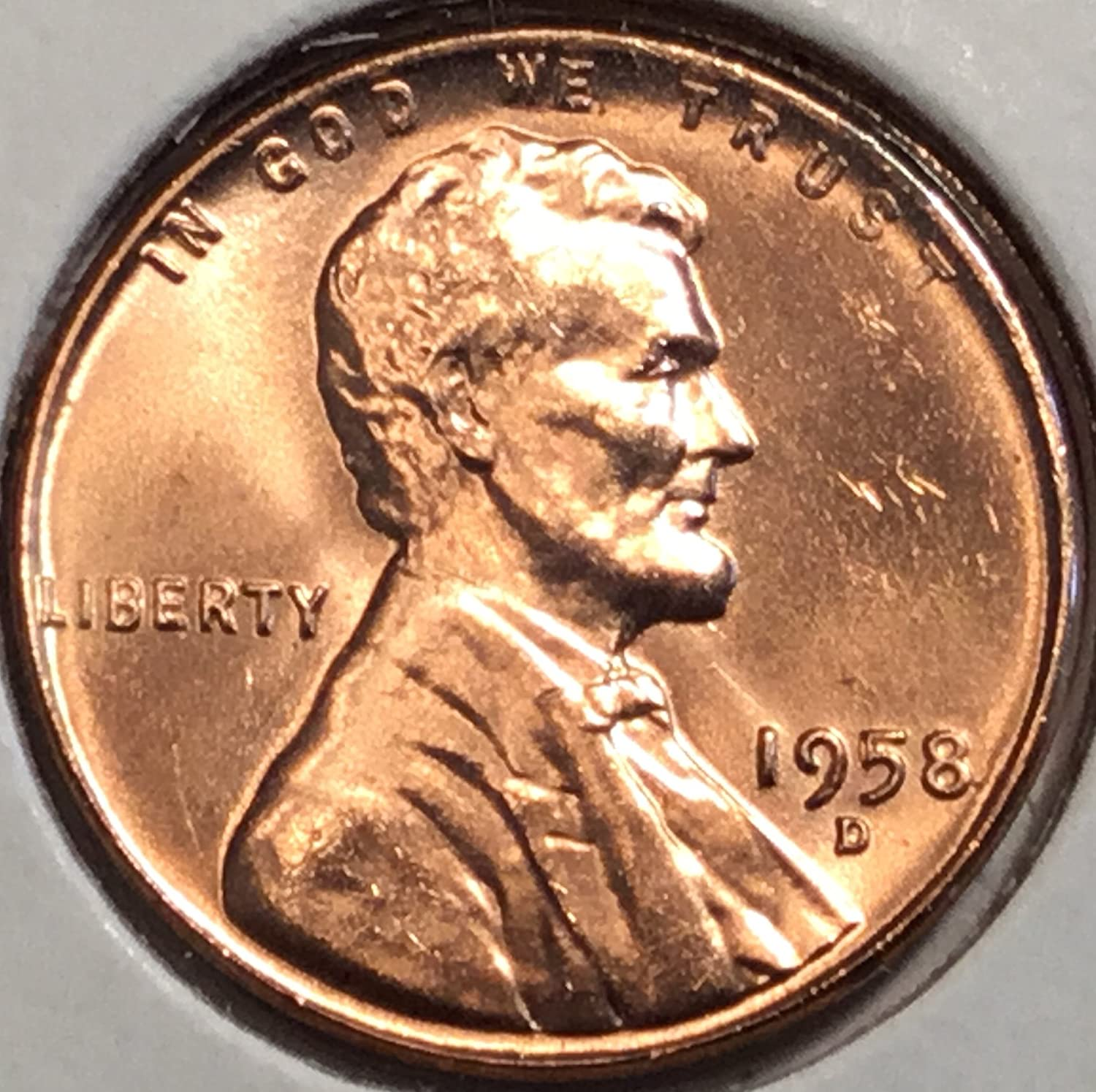 1958 D Lincoln wheat cent Red Penny Nearly Superb Gem