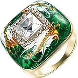 Yoursfs, 18 k, con rosa smaltata, quadrata, placcato solitarie Verde di anello, per donne e uomini