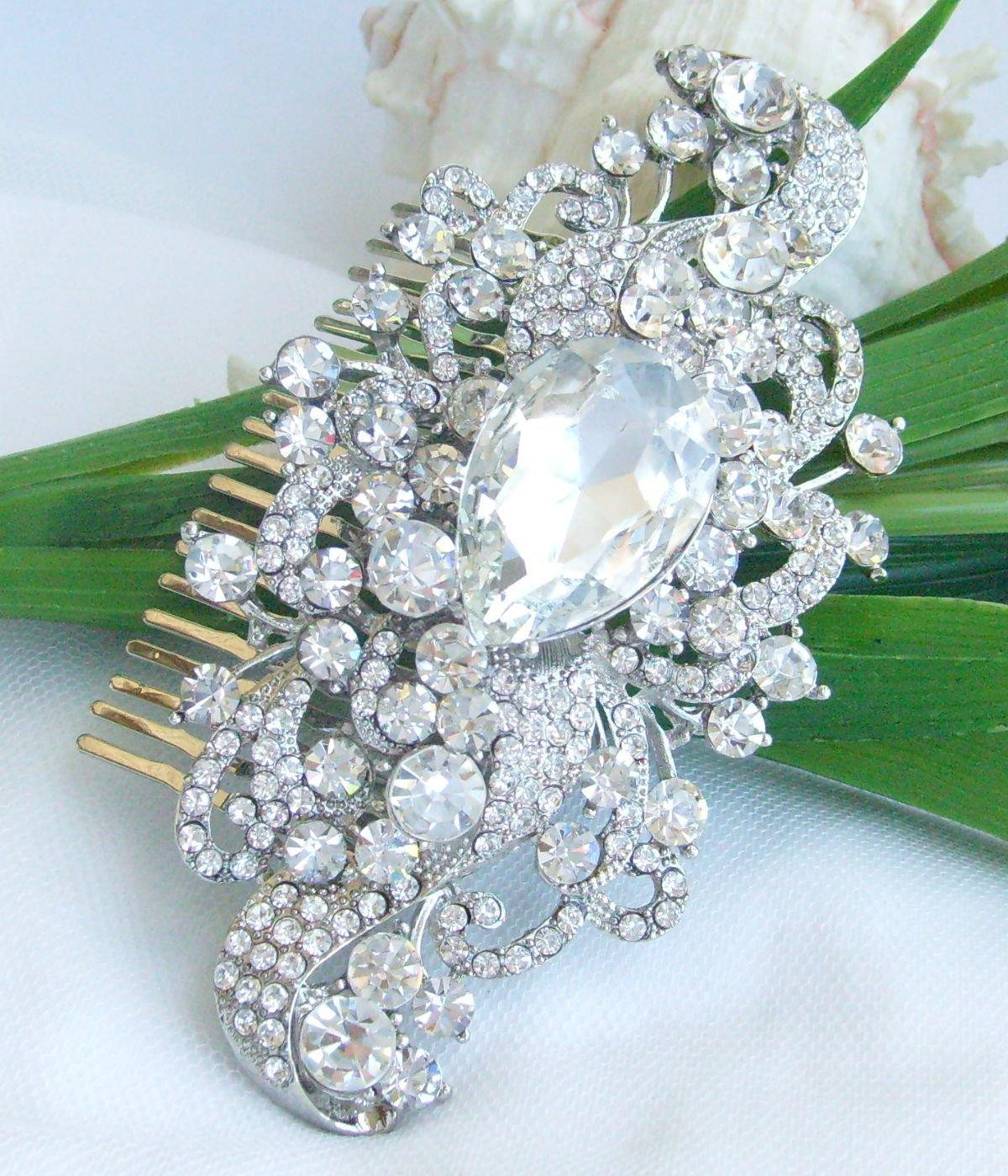 Sindary Wedding Headpiece 4.53 Inch Silver-tone Clear Rhinestone Crystal Flower Hair Comb by Sindary Jewelry (Image #3)