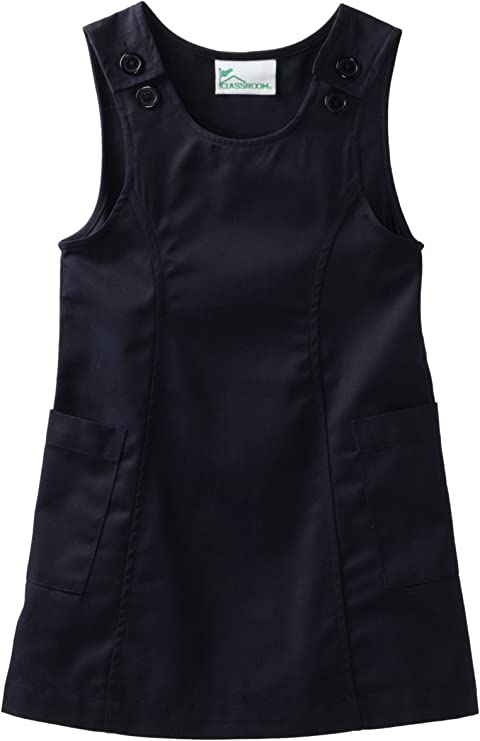 Khaki Classroom Big Girls  Princess Seam Printed Jumper Dress 14