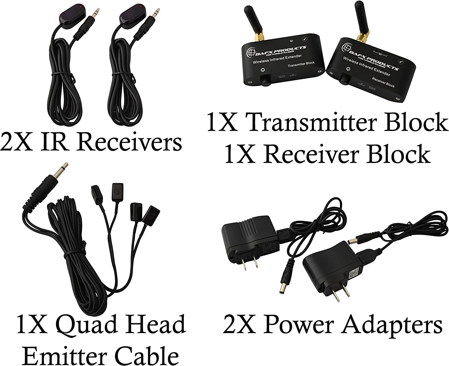 RF Wireless IR Repeater Kit//Infrared Remote Control Extender Kit; Hide Your Cable Box Out of Sight; No Wires to Run BAFX Products