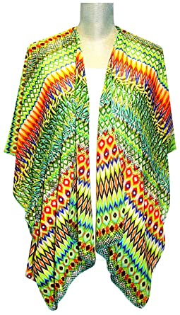 Lavello Open Style Kimono, Blue/Orange Ikat, One Size at Amazon ...