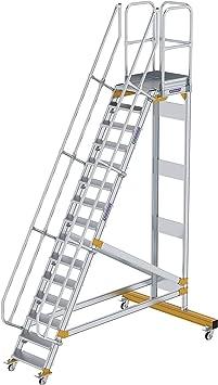 GÜNZBURGER STEIGTECHNIK Escalera de plataforma de aluminio móvil 60° 15 escalones: Amazon.es: Bricolaje y herramientas