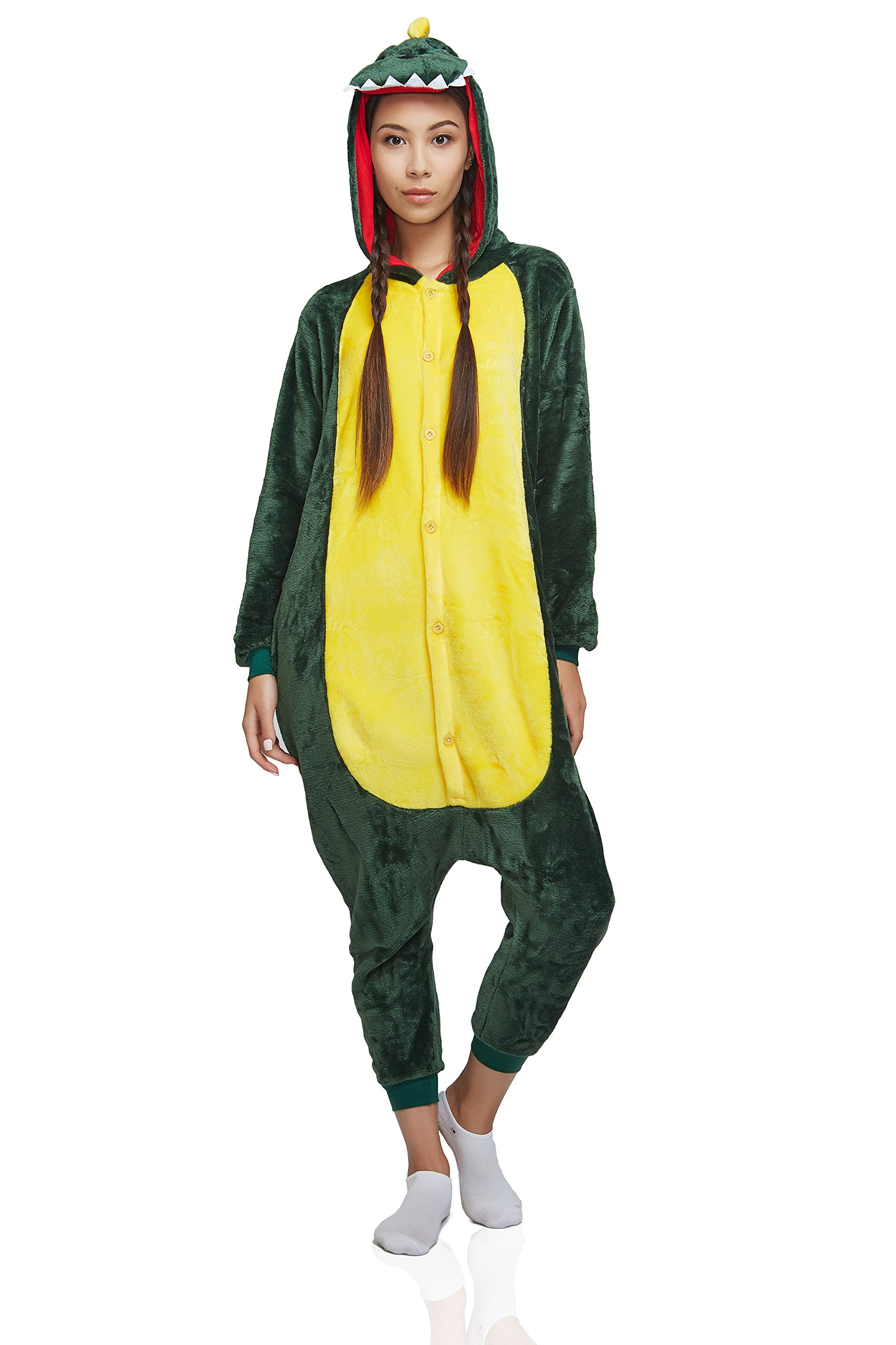 Adult Dragon Kigurumi Animal Onesie Pajamas Plush Onsie One Piece Cosplay Costume (Small, Green) by Nothing But Love (Image #1)