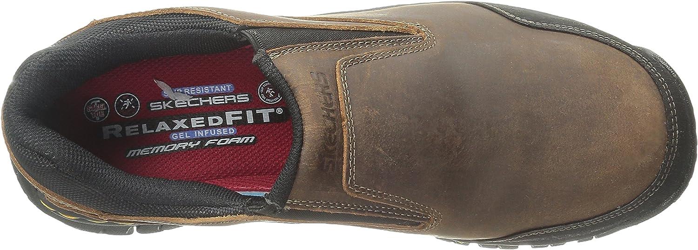 Skechers for Work Men's Hartan Steel Toe Slip-On Shoe Dark Brown