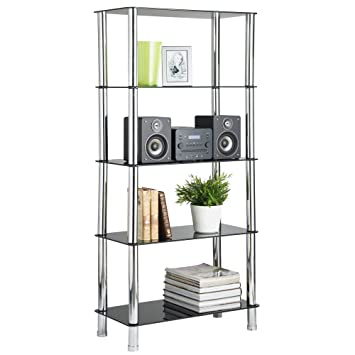 VonHaus Glass Shelving Unit Bookcase Living Room Furniture 5 Tier With  Chrome Legs Part 50