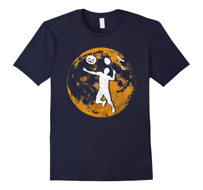 Badminton Pumpkin And Moon Halloween T-Shirt-FL