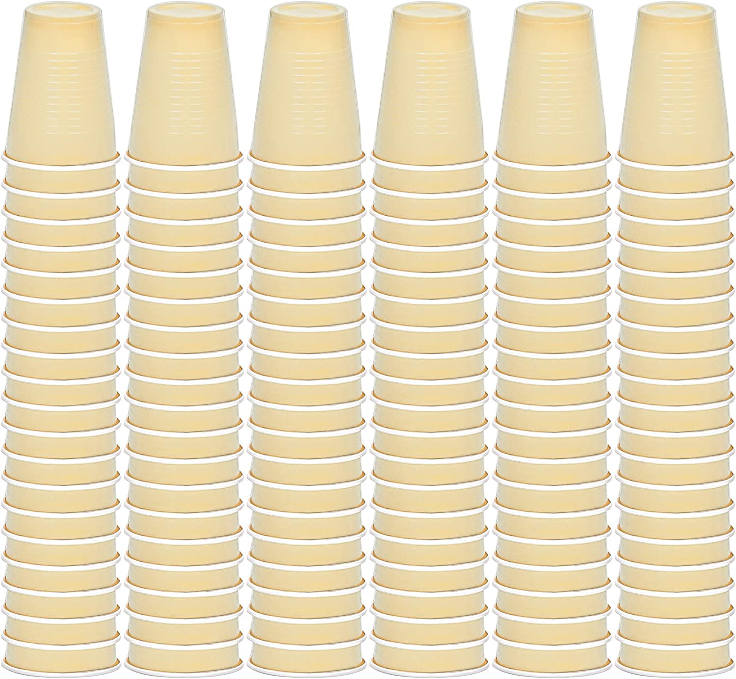 DecorRack Party Cups 12 oz Reusable Disposable Cups for Birthday Party Bachelorette Camping Indoor Outdoor Events Beverage Drinking Cups Ivory (120 Pack)