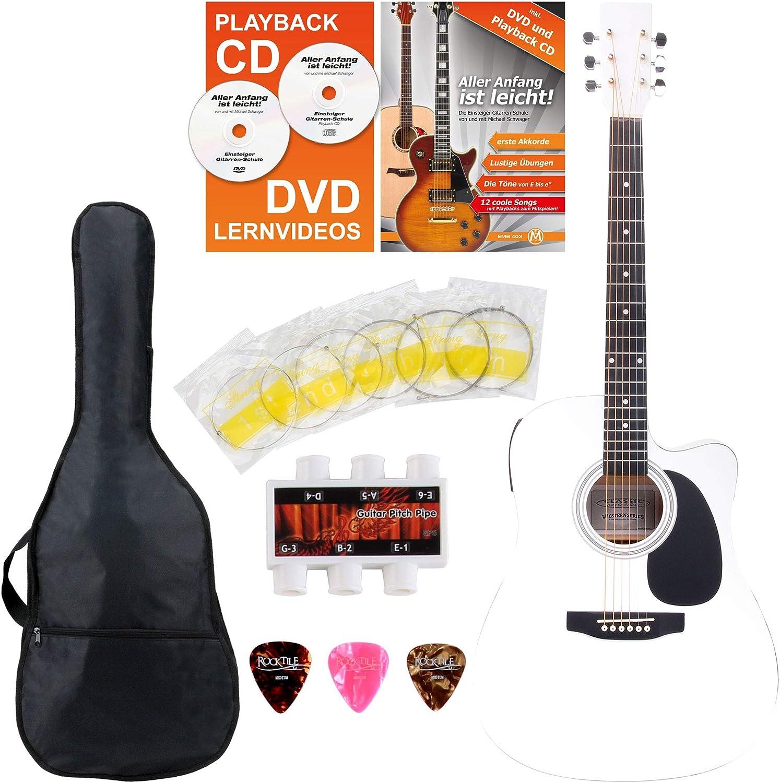 Classic Cantabile guitarra acústica con pastillas set principiante incl. set de accesorios blanco
