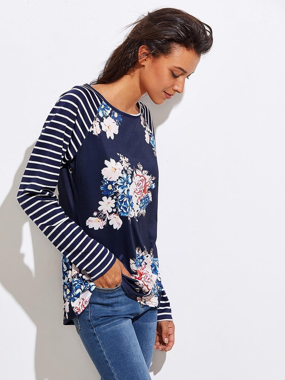 Floerns Womens Floral Print Stripe Raglan Sleeve Baseball T Shirt