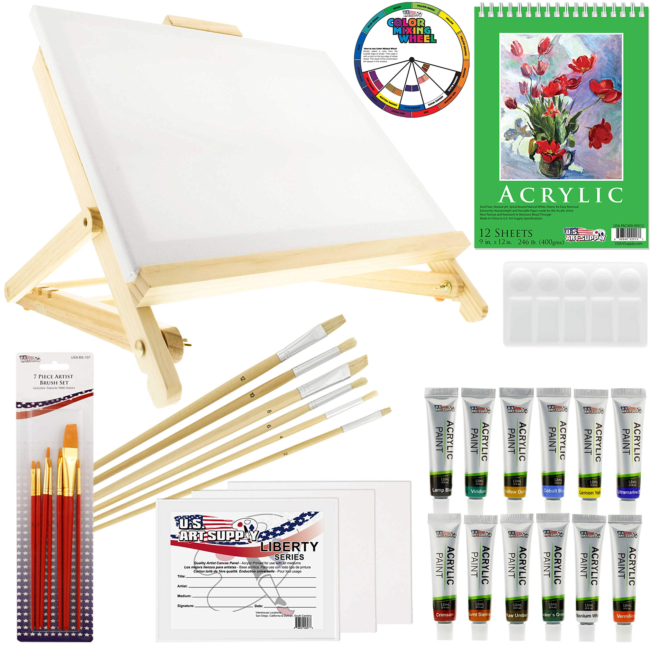 US Art Supply 33 Piece Custom Artist Acrylic Painting Set with Table Easel, Paint, Canvas and Accessories by US Art Supply