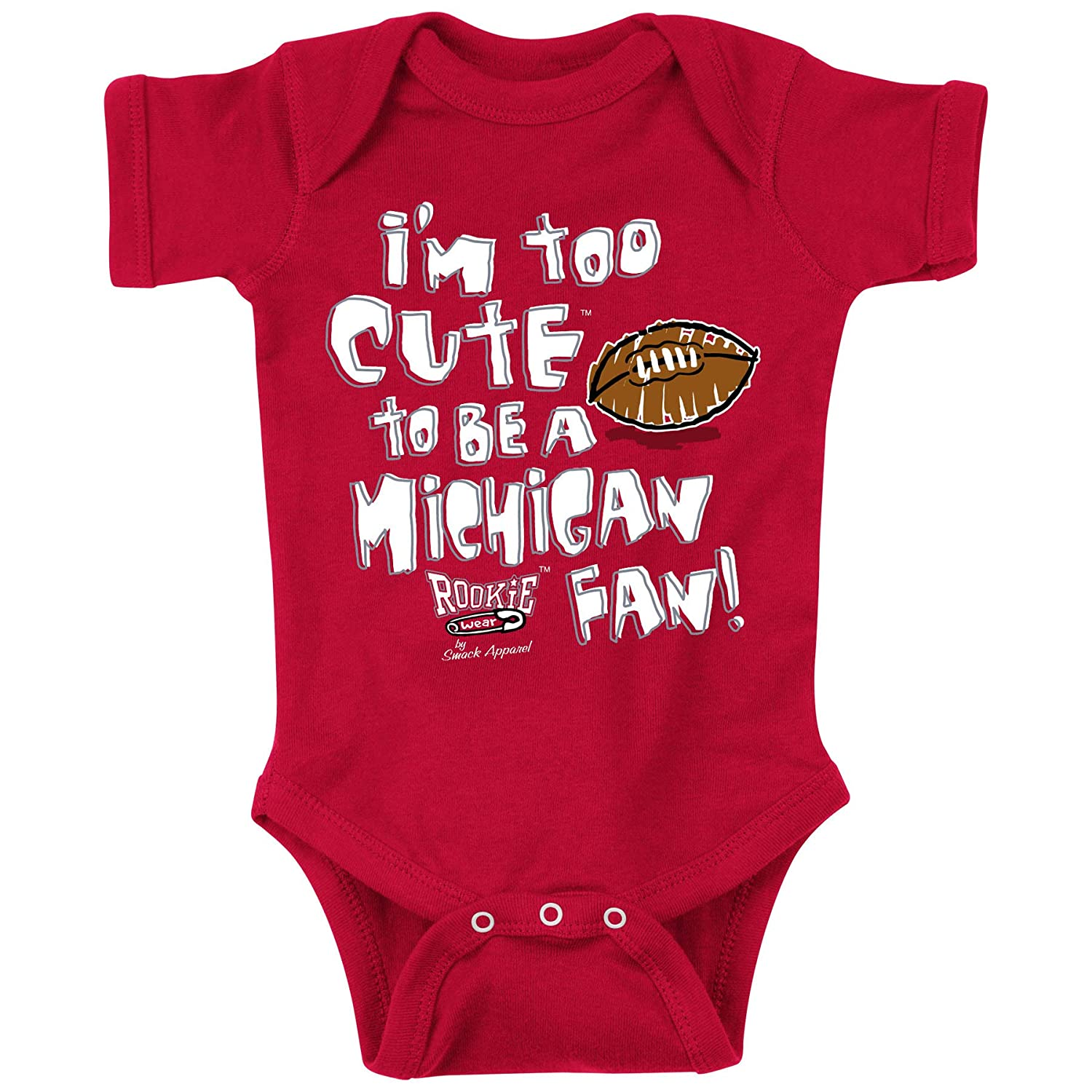 NB-18M and Toddler Tee Smack Apparel Ohio State Buckeyes Fans 2T-4T Too Cute Red Onesie