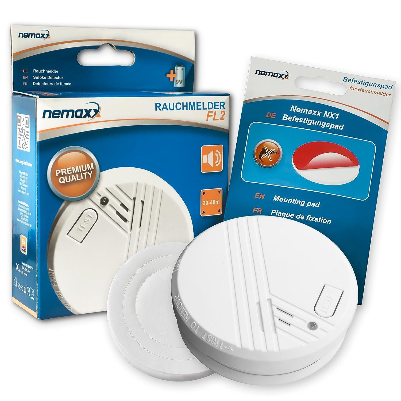 Nemaxx FL2 - Detector de humo segú n la norma DIN 14604 es y NX1 soporte magné tico para detector de humo, 5FL2NX1