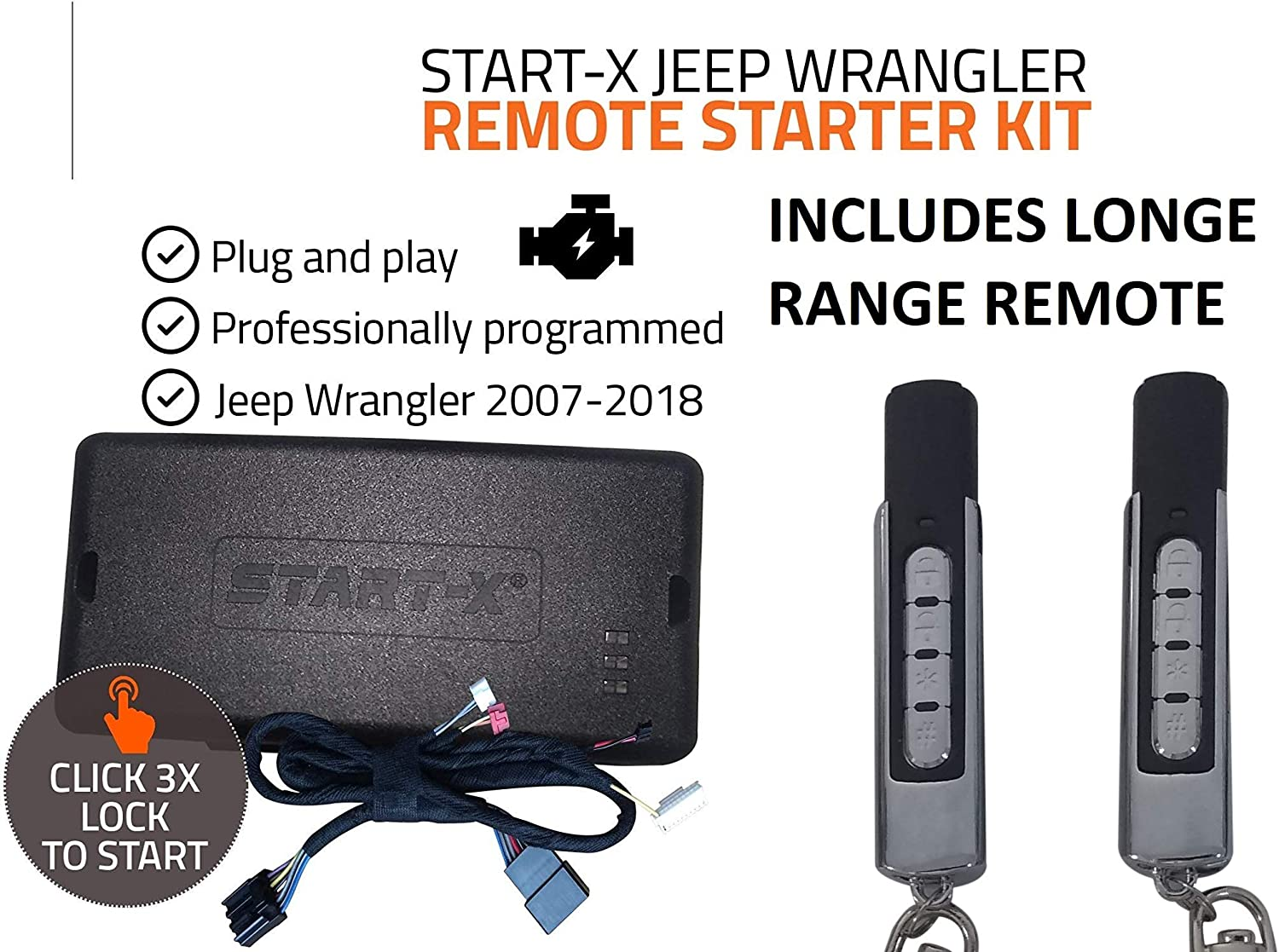 2018-2020 Plug /& Play Start-X Remote Starter Kit for Jeep Wrangler /& Gladiator Push to Start 3X Lock to Remote Start All Trims 10 Minute Install