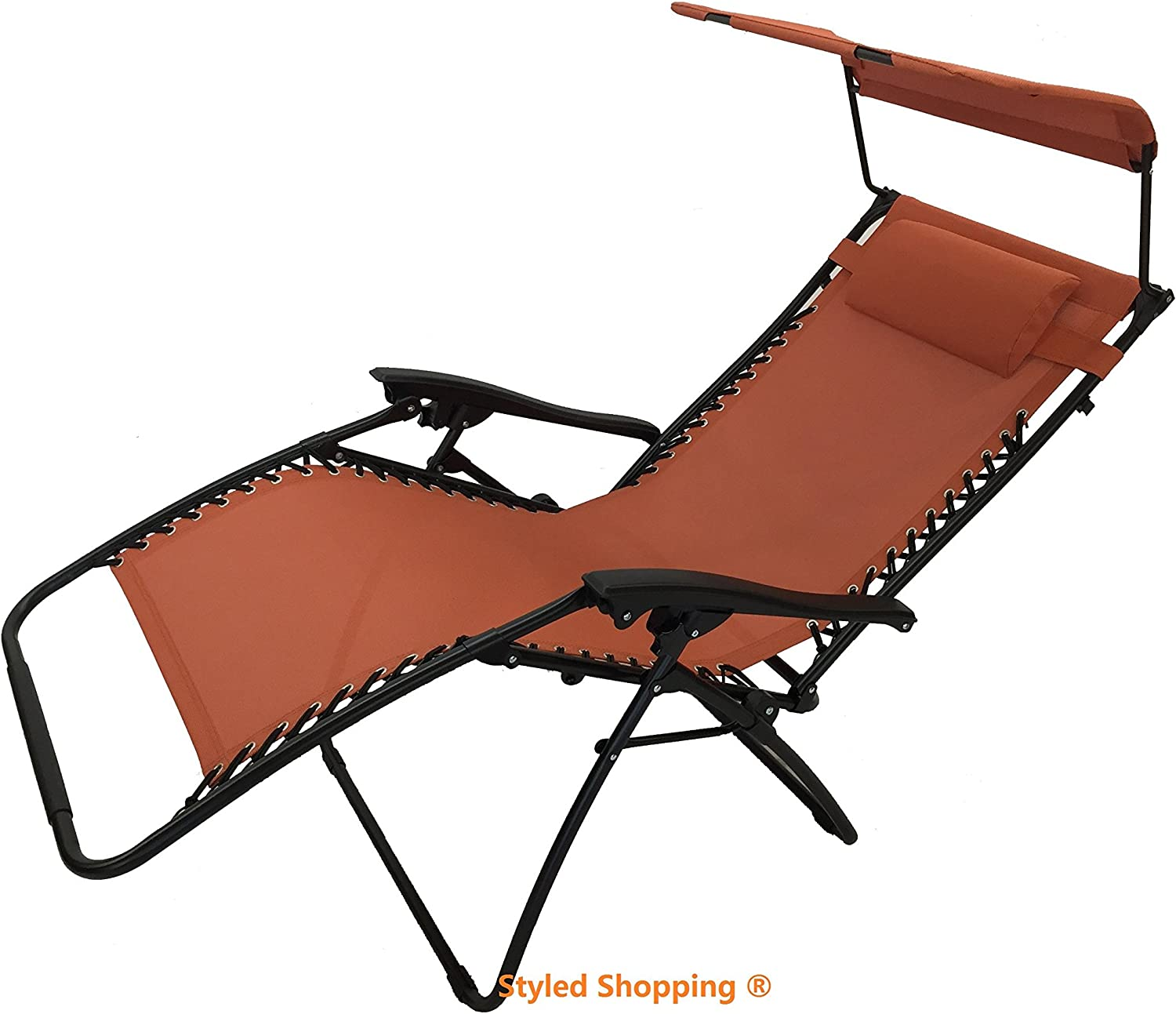 Deluxe Oversized Extra Large Zero Gravity Chair with Canopy + Tray - Terra Cotta