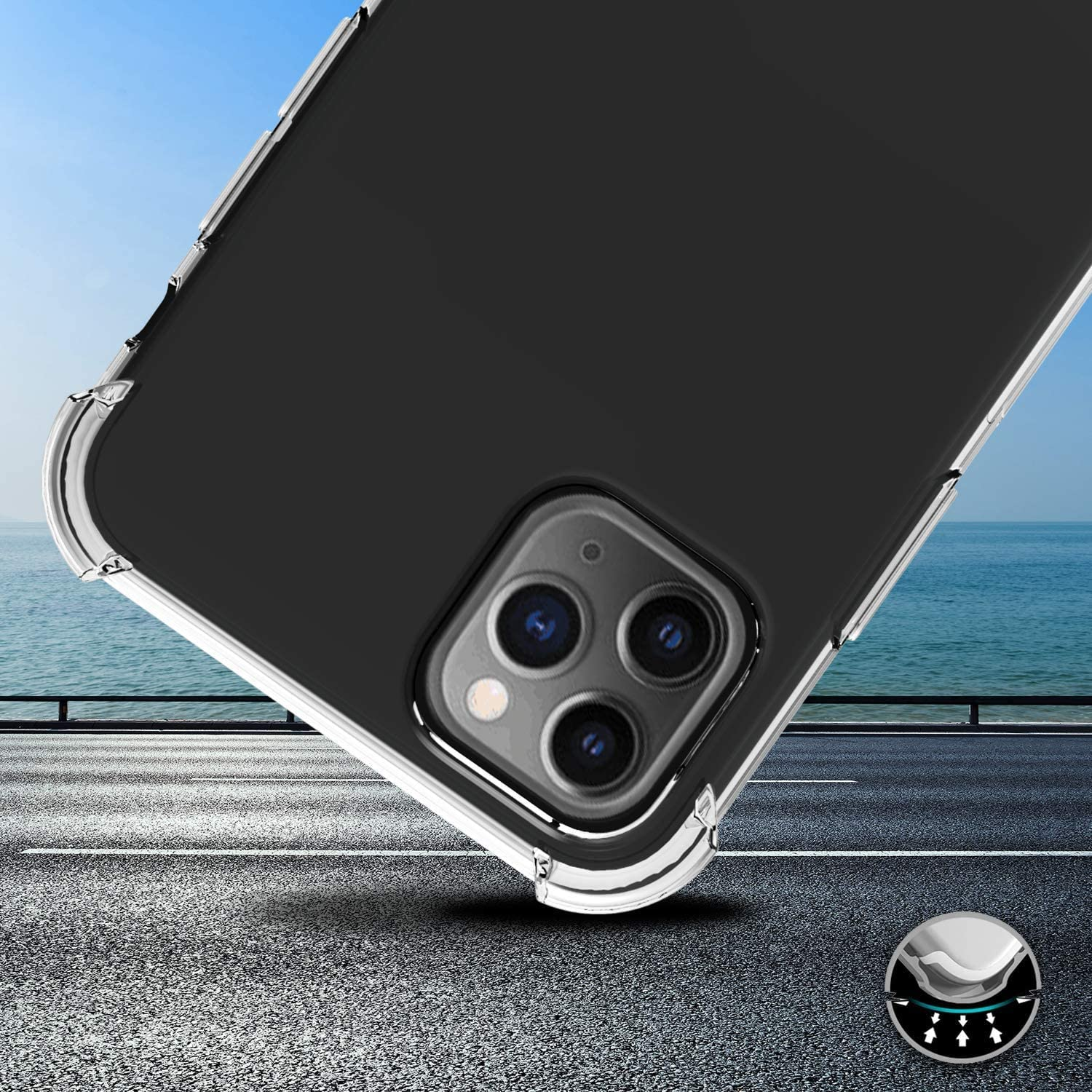 Flexible Silicone Cover for iPhone 11 Pro Max 6.5 Inch 1.1 mm Thick Back Case Clear Shock-absorbing Air-Guard Corners iPhone 11 Pro Max Case iPhone 11 Pro Max Cover with Slim Clear Soft TPU