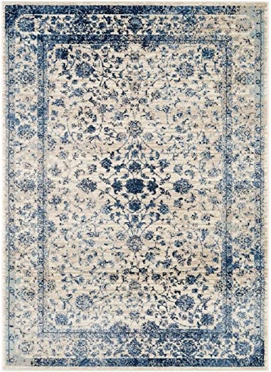 Persian-Rugs 2817 Distressed Ivory 5 x 7 Area Rug Carpet Large New