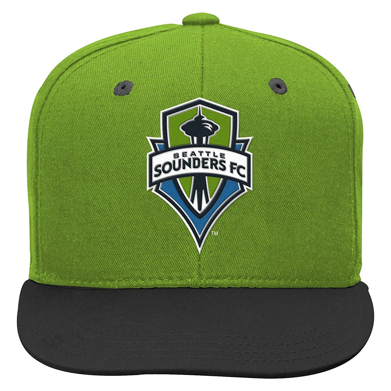 Youth One Size MLS Seattle Sounders FC 4-7 Outerstuff Flat Visor Snapback Green