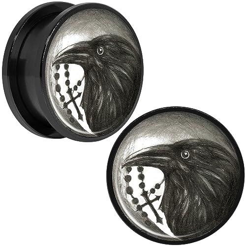 Cuerpo Caramelo Negro Anodizado Acero Inoxidable Raven Cruzado Ajuste Tornillo Doble Borde Bujía Par 20mm: Amazon.es: Joyería