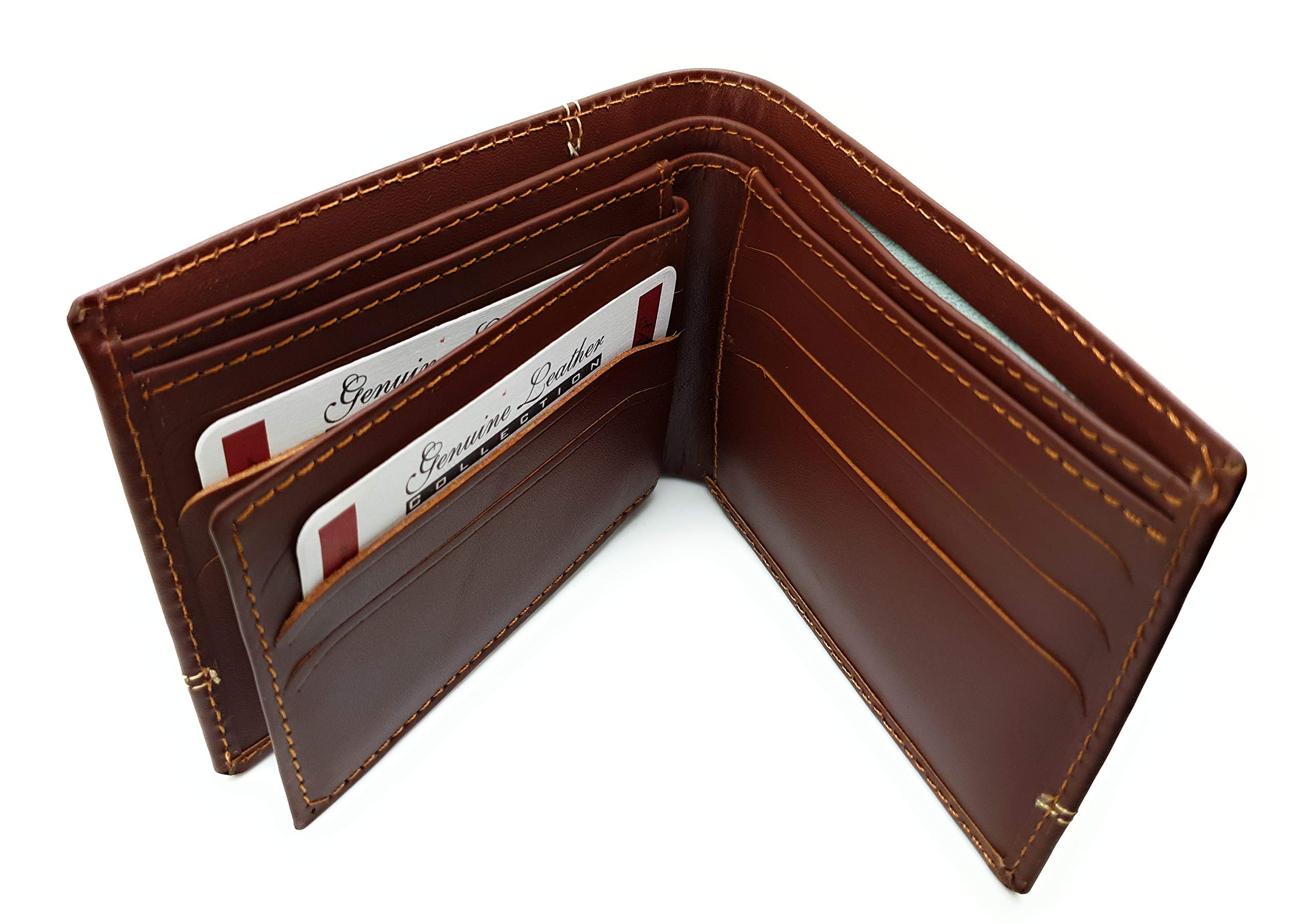 Saaqaans SW-02 High Quality Genuine Cowhide Leather Men's Wallet Purse - Perfect Gift for Him (Brown)