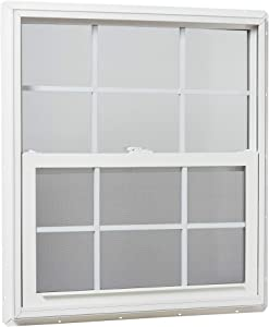 "Park Ridge Products VSHI3236GPR Park Ridge Vinyl Single Hung Window, Insulated Glass w/Grids, 32"" x 36"", White"