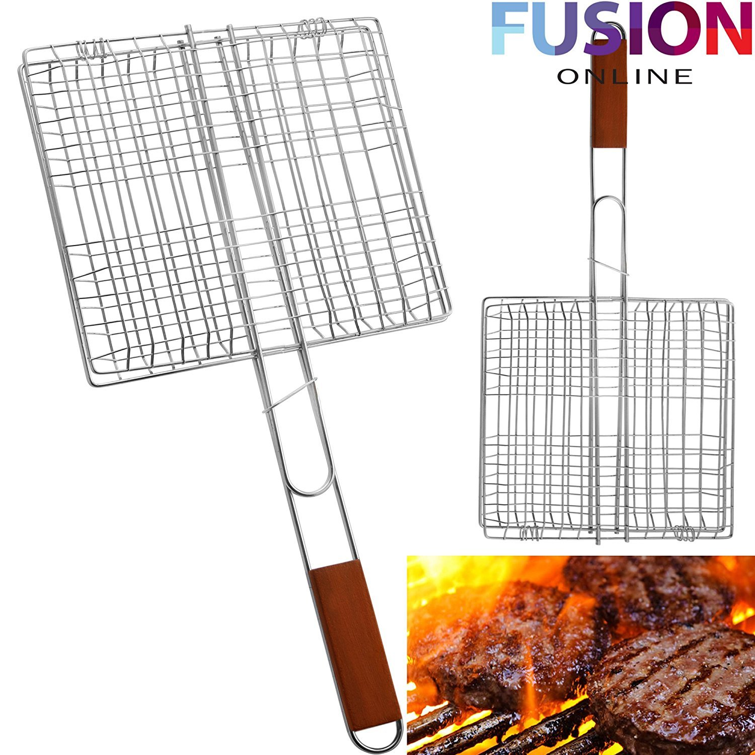 Small BBQ grill stand Fusion Online LARGE BBQ MEAT BURGER FISH LONG HANDLE HOLDER GRILL RACK RECTANGLE FOLDING STAND