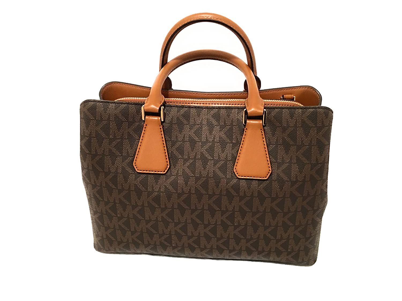 8028a8aa101c Amazon.com  Michael Kors Camille Savannah Large Satchel Brown MK Acorn  Crossbody Bag  Shoes