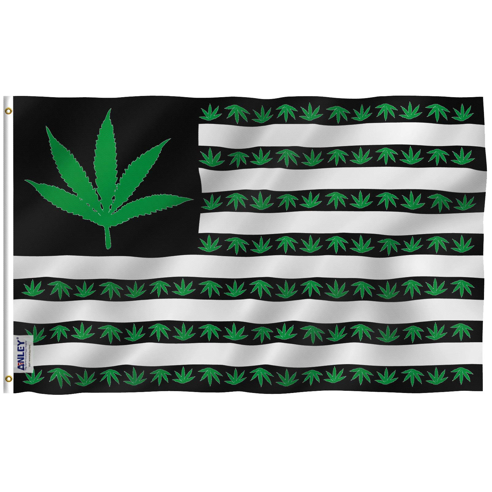 Anley [Fly Breeze 3×5 Foot Marijuana Leaf USA Polyester Flag – Vivid Color and UV Fade Resistant – Canvas Header and Double Stitched – US Marijuana Leaves Flags with Brass Grommets 3 X 5 Ft