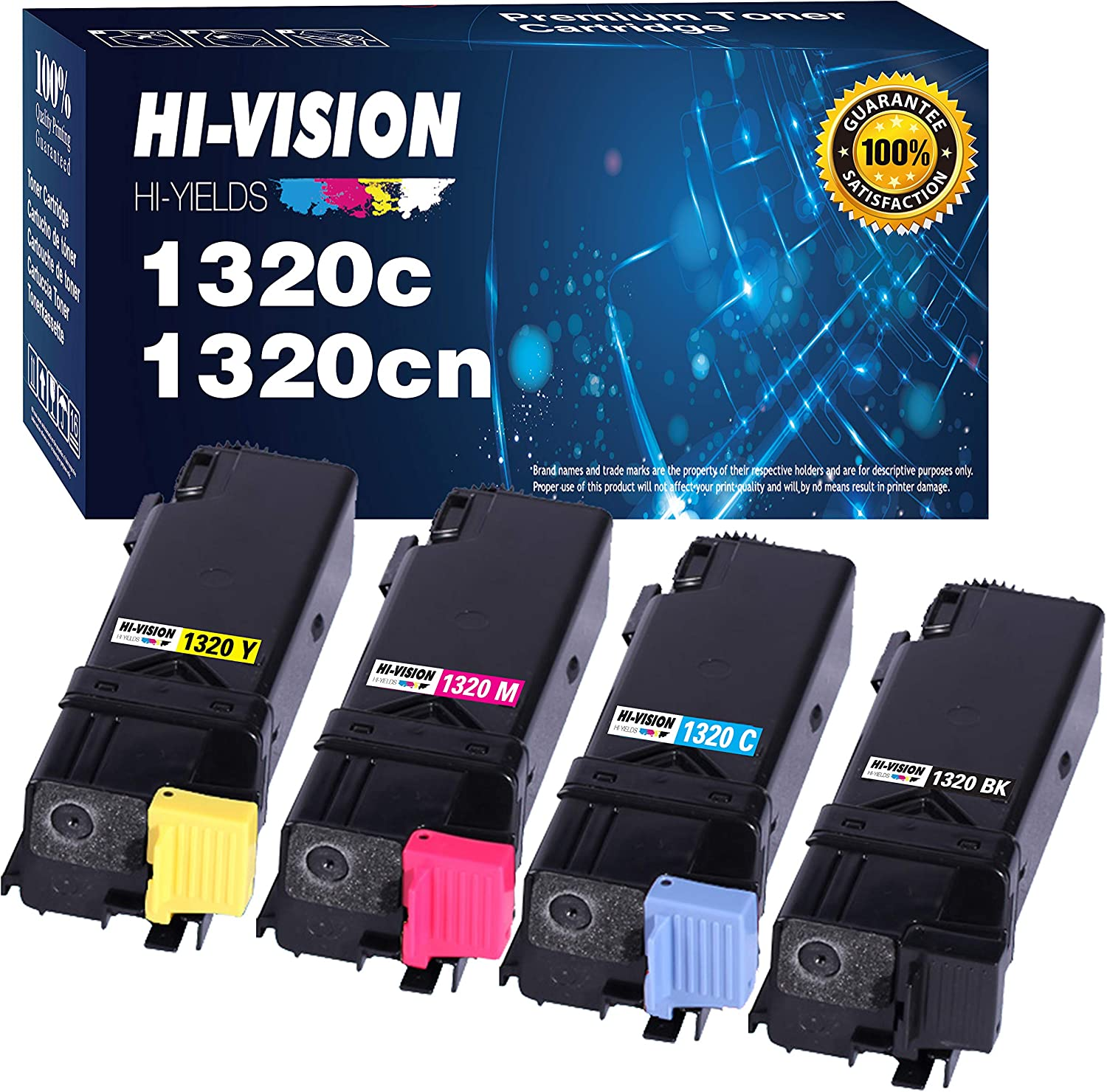 HI-Vision Compatible Dell 1320 Toner Cartridge Replacement for Dell Color Laser 1320c Printer (Black, Cyan, Magenta, Yellow, 4-Pack)