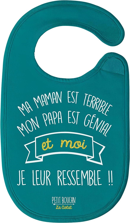 doubl/é en /éponge coton tr/ès absorbant en Bleu Canard Petit Boucanmaman est terrible bavoir b/éb/é gar/çon -100/% coton doux papa est g/énial