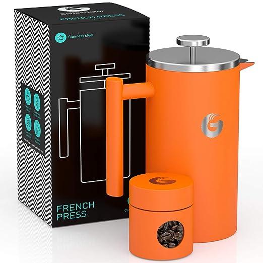 Coffee Gator CAFETERA DE EMBOLO de Primera Calidad. Prensa Francesa de Doble Pared, 8 Tazas de Capacidad, Ideal para Conseguir un Intenso café. ...