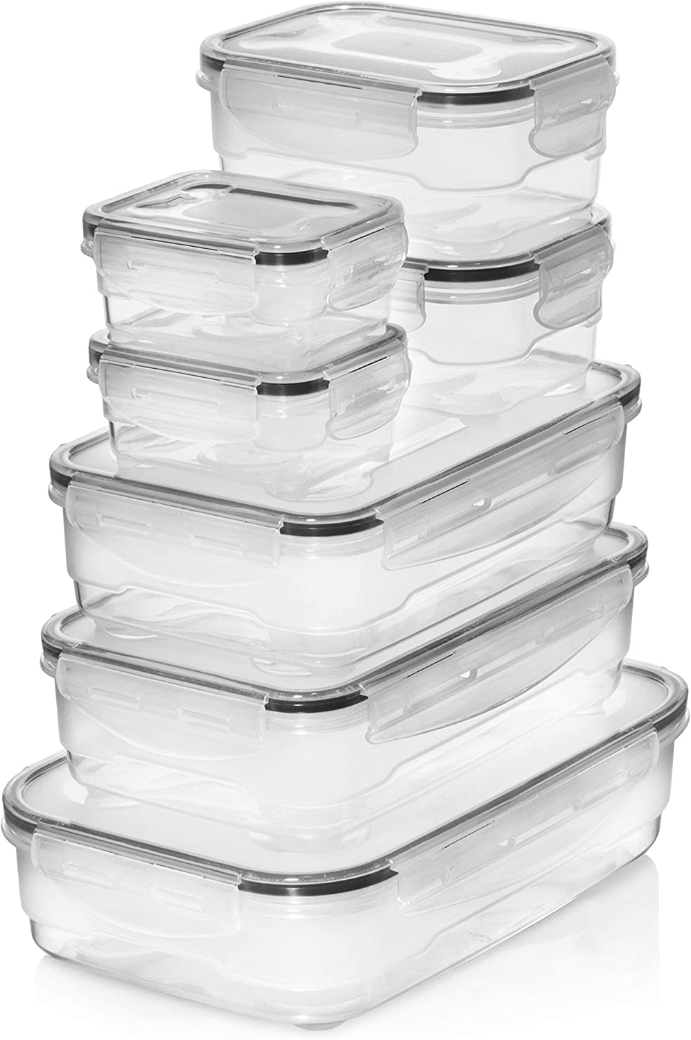 Homemaid Living Premium Airtight Plastic Storage Containers Easy Lock Lid, Microwave Freezer and Dishwasher Safe, Perfect Meal Prep or Food Storage Containers (Set of 7)