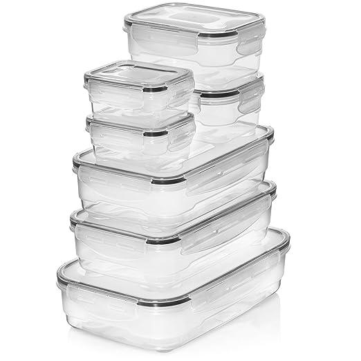Contenedores herméticos de plástico de alta calidad, 7 piezas con ...