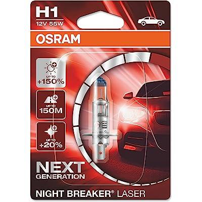 OSRAM NIGHT BREAKER LASER H1, Gen 2, +150% más luz, bombilla H1 para faros delanteros, 64150NL-01B, 12V, blister simple (1 lámpara)