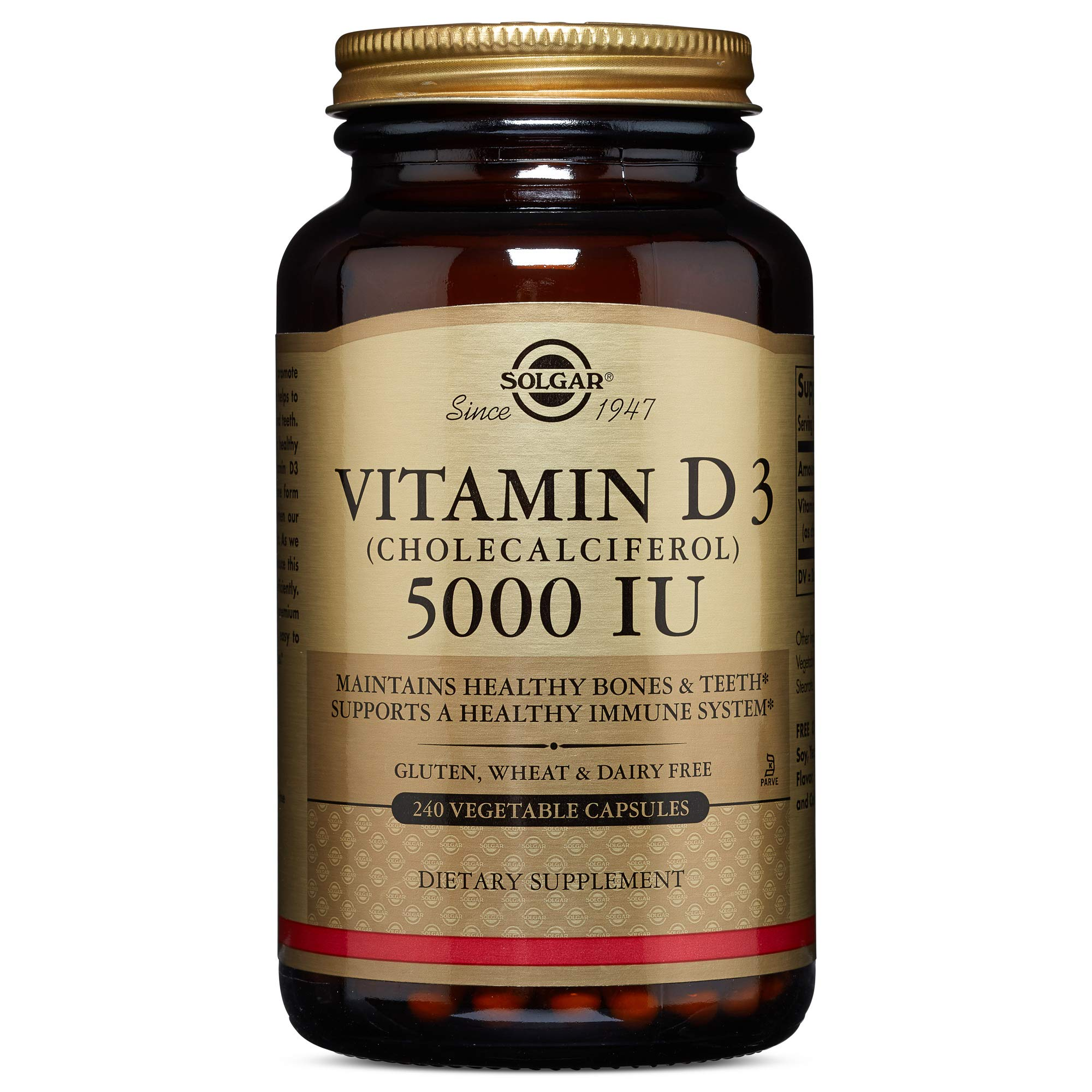 Solgar - Vitamin D3 (Cholecalciferol) 5,000 IU 240 Vegetable Capsules