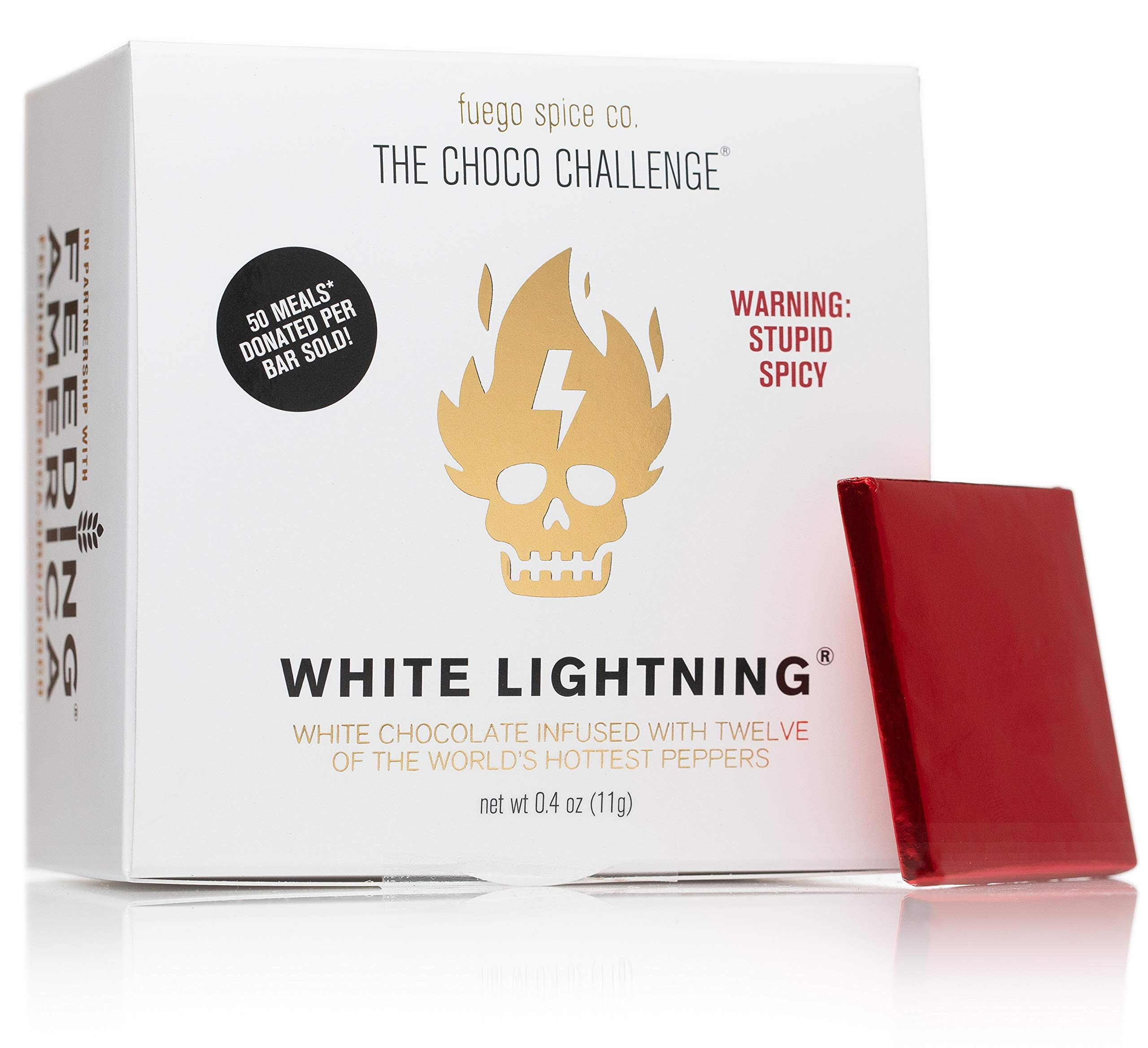 The Choco Challenge 2.0 - White Lightning by FUEGO SPICE CO. White Chocolate with World's Hottest Peppers (1 Bar) 50 Meals Donated per Bar Sold