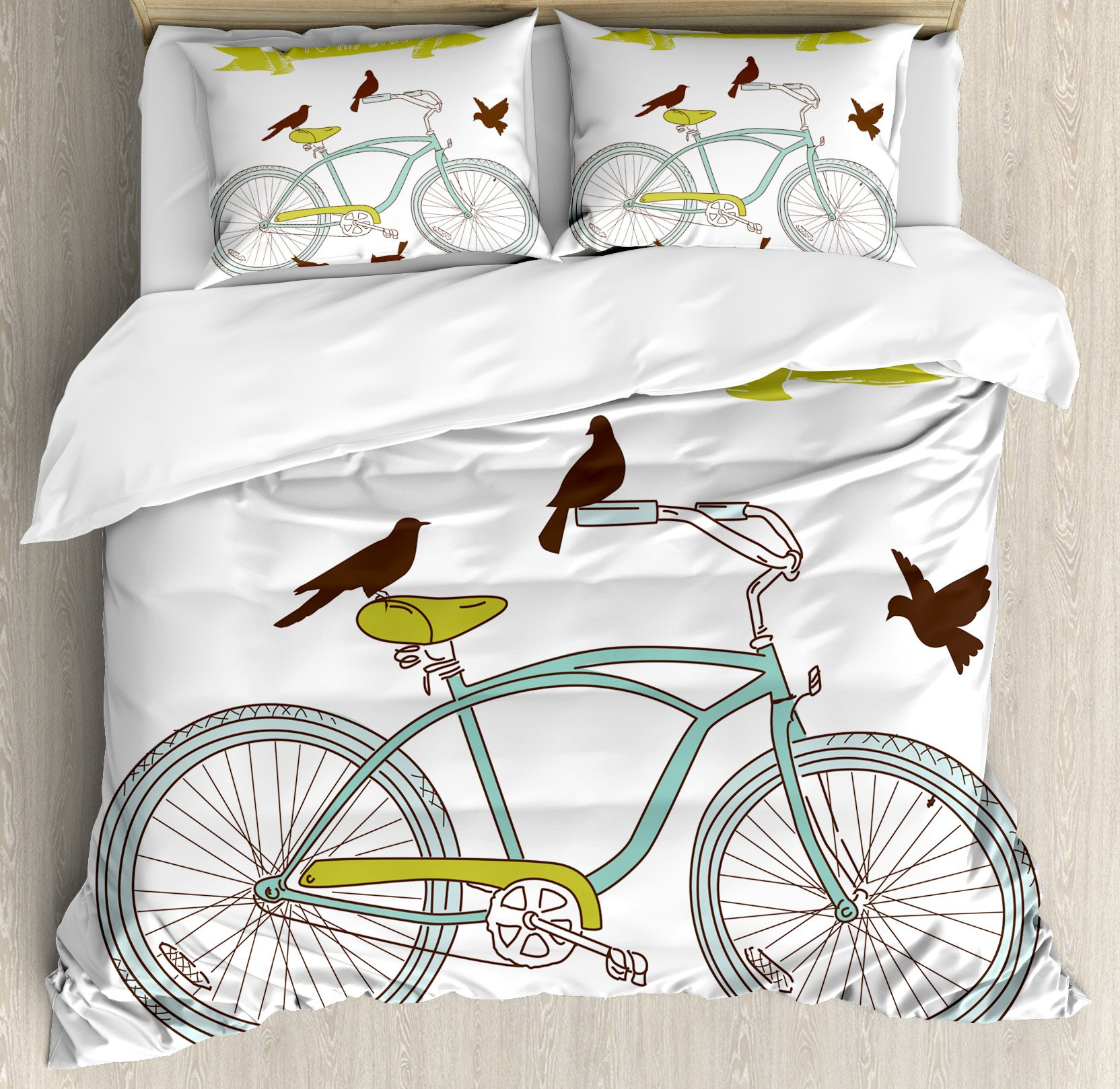 Bicycle Duvet Cover Set King Size by Ambesonne, I Love My Bike Concept with Birds on the Seat Cruisers Basic Vehicle Simplistic Art, Decorative 3 Piece Bedding Set with 2 Pillow Shams, Green Blue by Ambesonne (Image #1)
