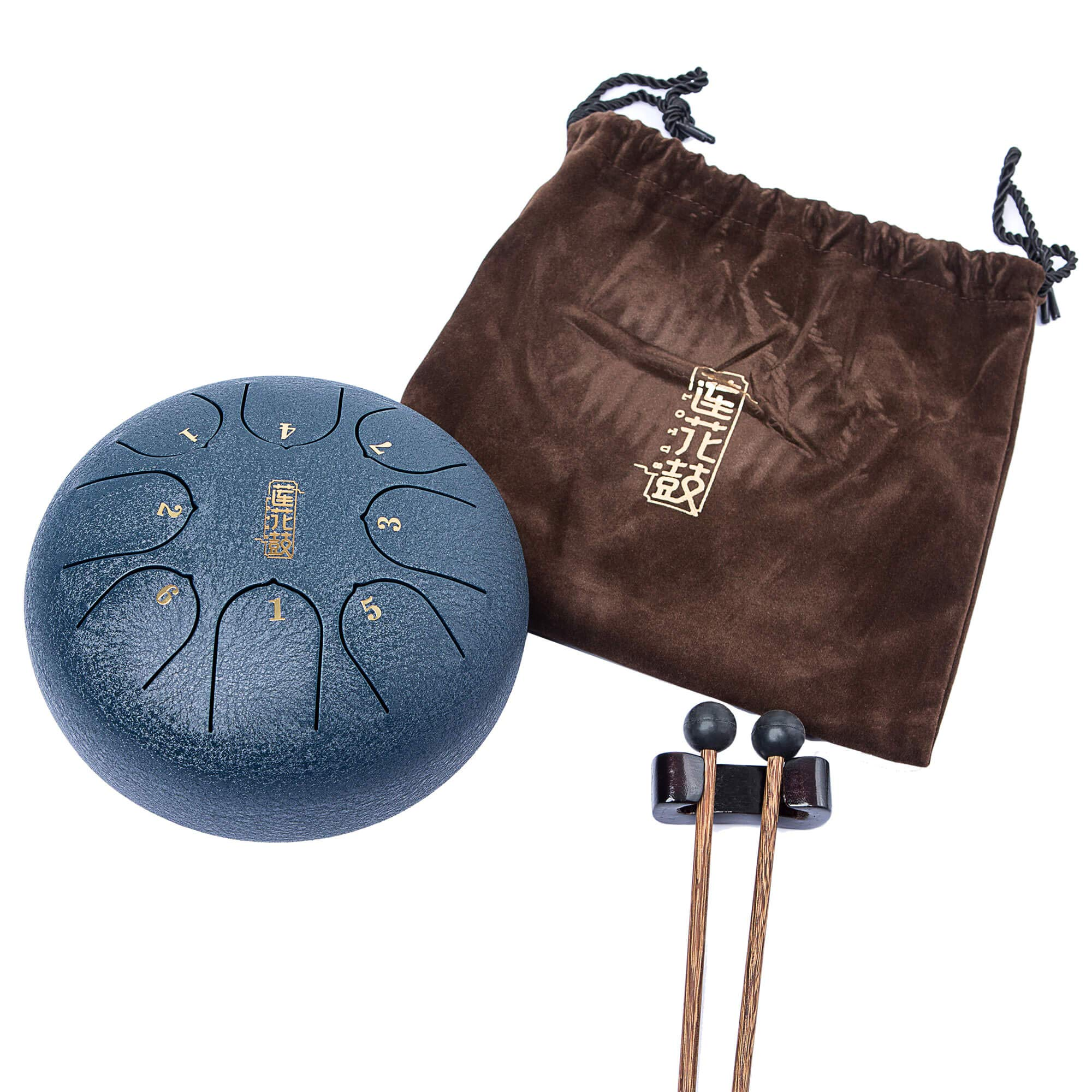 Handpan Tongue Drum 8 Notes 6 Inches Chakra Tank Drum Steel Percussion Hang Drum Instrument with Padded Travel Bag and Mallets Blue (6)