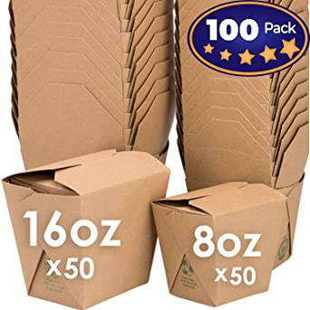 Cajas de comida china para microondas Paquete de 100 por Avant ...
