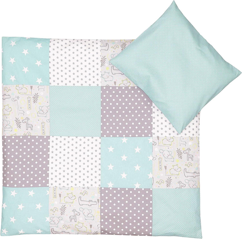 Conjunto de ropa de cuna de ULLENBOOM /® con safari menta juego de 2 piezas para cuna: funda de almohada de 35/x/40 cm y funda n/órdica de 80/x/80 cm