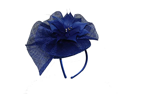 f8e7bcc9 Image Unavailable. Image not available for. Colour: GIZZY® Ladies French Navy  Blue Sinamay Pill Box Fascinator ...